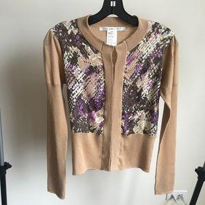 Dian von Furstenberg DVF blouse beige size M